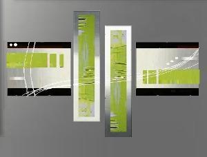 Tableau triptyque design tableau deco ejrac - Vert anis et gris ...